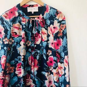 [Charles Henry] Bold Floral Shift Keyhole Tie Neck